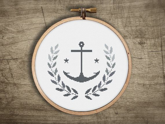 modern cross stitch pattern ++ retro anchor wreath leaf nautical ++ pdf INsTAnT DOwNLoAD ++ diy hipster ++ handmade design
