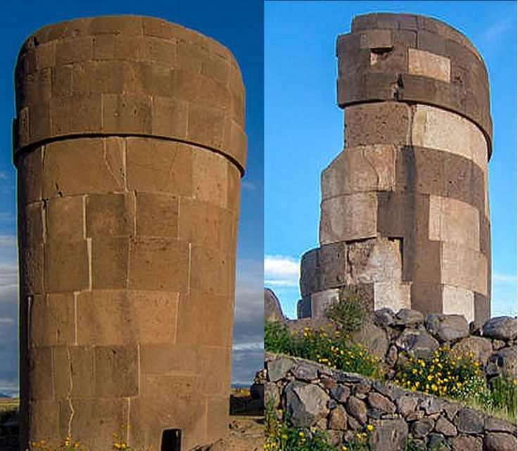 Sillustani Tombs – High Plains, Peru are set on a hill above Lake Umayo and were used as graves for Colla nobility.