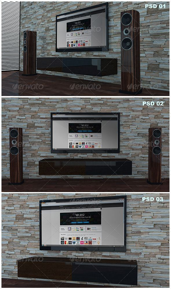 Living Room Tv MockUp Photoshop PSD Wood O Available Here