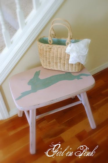 "Stool refinished by Amanda at ""One Girl In Pink"" blog. Annie Sloan Chalk Paint colors: Antoinette on the stool, Duck Egg Blue rabbit"