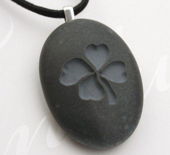 Four-leaf clover pendant - Tiny PebbleGlyph (C) - Engraved beach stone necklace