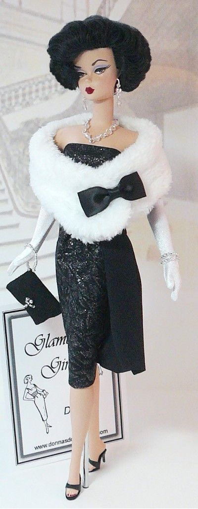 Barbie black evening dress with white stole. Check out my AFFORDABLE doll store: http