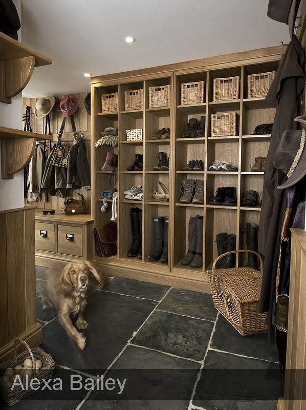 Boot Room, love this idea of extra tall spaces for boots!