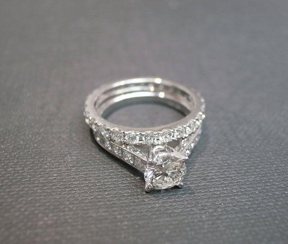 Diamond Engagement Ring Wedding Band Set by honngaijewelry on Etsy