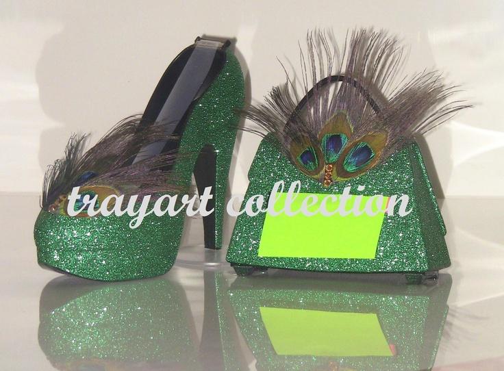 Emerald Green Pea Stiletto Platform High Heel Shoe Tape Dispenser Purse Pop Up Note