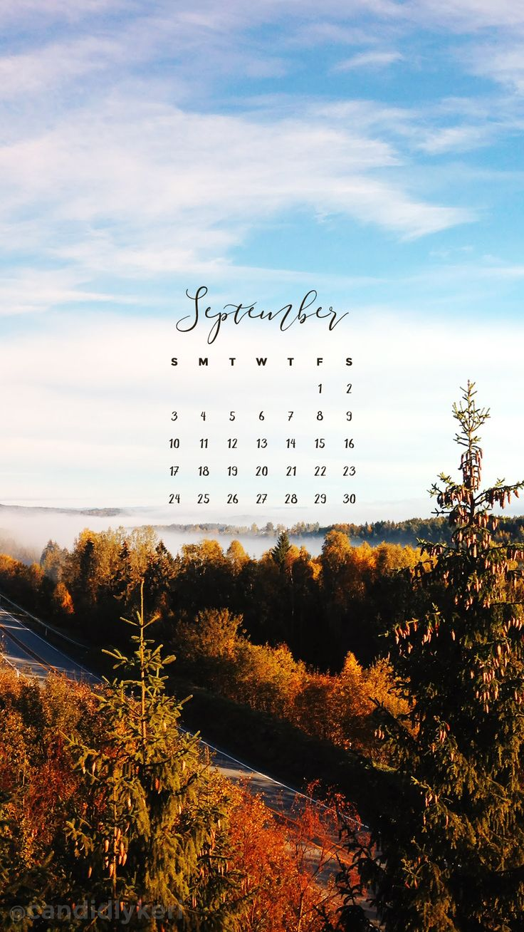 Fall sky ocean blue clouds colorful leaves September calendar 2017 wallpaper you can download for free on the blog! For any device; mobile, desktop, iphone, android!