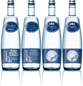Pineo water range of 1L. All glass bottles.