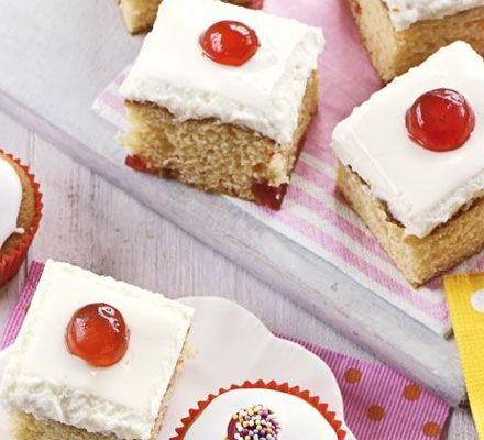 Cherry mallow traybake recipe - Recipes - BBC Good Food