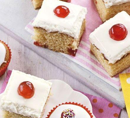 Cherry mallow traybake recipe - Recipes - BBC Good Food