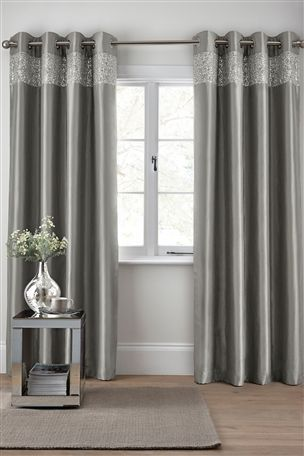Buy Embellished Shimmer Band Eyelet Curtains from the Next UK online shop