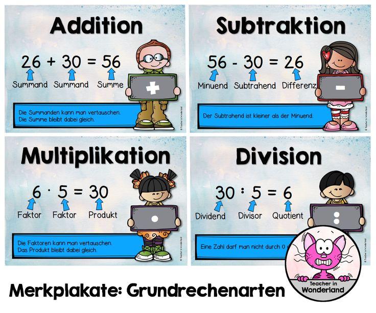 Habe für meine Matheklassen nun Merkplakate zu den Grundrechenarten angefertigt.   Merkplakat zur Addition   Merkplakat zur Subtraktion ...