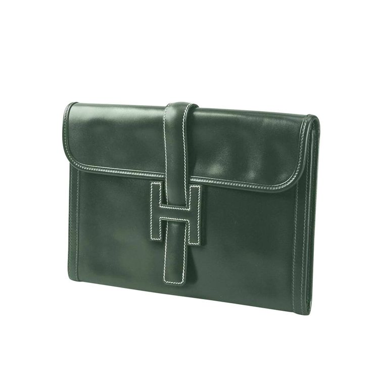 1990S Dark Green Jige Hermes Clutch 29cm | From a collection of rare vintage clutches at https://www.1stdibs.com/fashion/handbags-purses-bags/clutches/