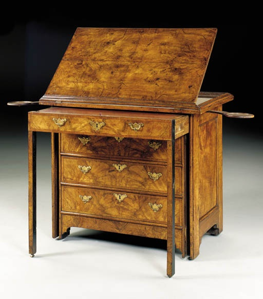A GEORGE II PROVINCIAL WALNUT ARCHITECT'S DESK Possibly Dutch, circa 1730,  The molded quarter - 159 Best Antique Desk & Accessories Images On Pinterest Antique