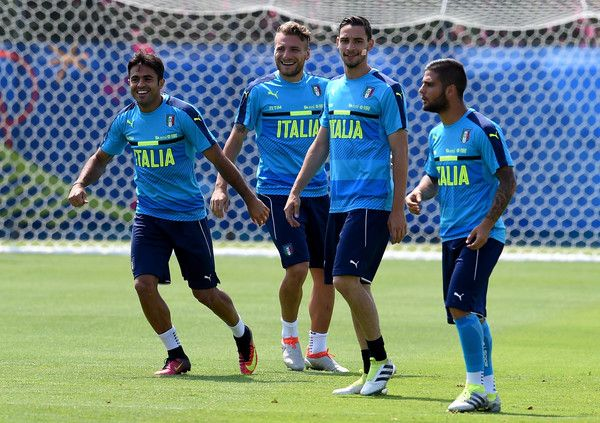 "(L-R) Eder, Ciro Immobile, Mattia De Sciglio and Lorenzo Insigne of Italy laugh during the training session at ""Bernard Gasset"" Training Center on June 29, 2016 in Montpellier, France."