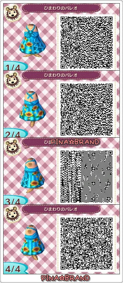 ACNL QR CODE-Blue Summer Dress with Sunflowers