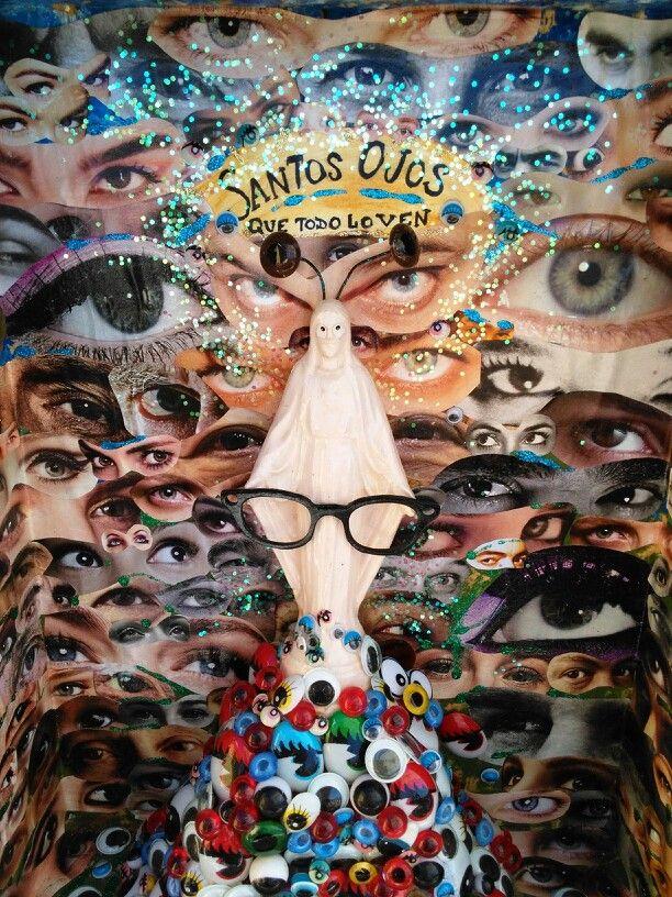 Santos ojos que todo lo ven (detalle). Collage, técnica mixta. Caja de madera 27X35X11cm