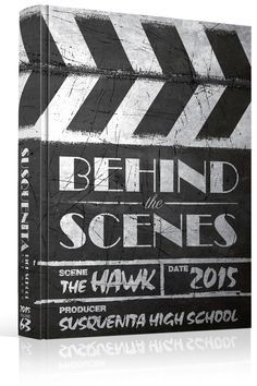 "Yearbook Cover - Unused - ""Behind The Scenes"" Theme - Movie, Hollywood, Slate, Theater, Theatre, Film, Reel, Entertainment Industry, Clapper, Chalk"