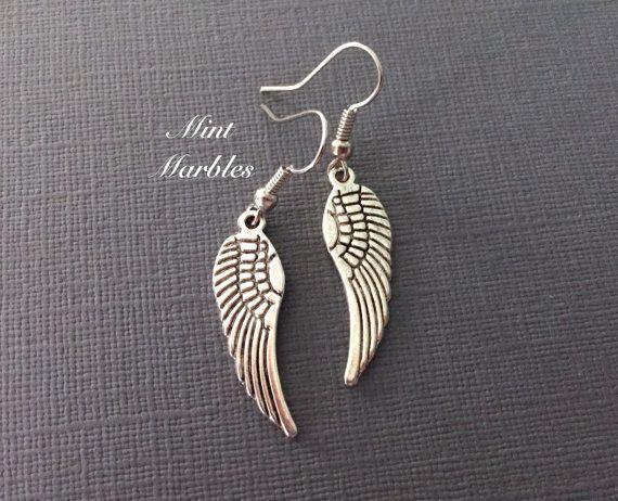 Silver Angel Wing Earrings. Simple Jewelry. Fairy by MintMarbles