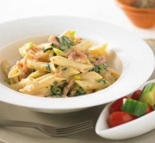 Creamy spinach and bacon pasta: Sub pasta with Miracle Rice Fettuccine, Dairy Free White Sauce for corn flour and Evap milk. Omit Tomatoes