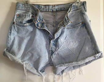 Vintage Daisy Duke style LEVIS 501s, Jean Shorts Distressed, shredded hems, Button Fly High Rise 90's - 80's Patched & Repaired Size 32