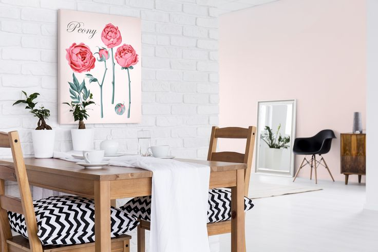 Cuadro romántico Set of vintage peonies (Conjunto de peonías vintage) es un ejemplo de nuestros productos que es adecuado tanto para un dormitorio romántico como para comedor, salón u otras habitaciones ✿