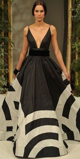 black and white - great impact dress, although I don't know that many girls would choose this for their wedding!