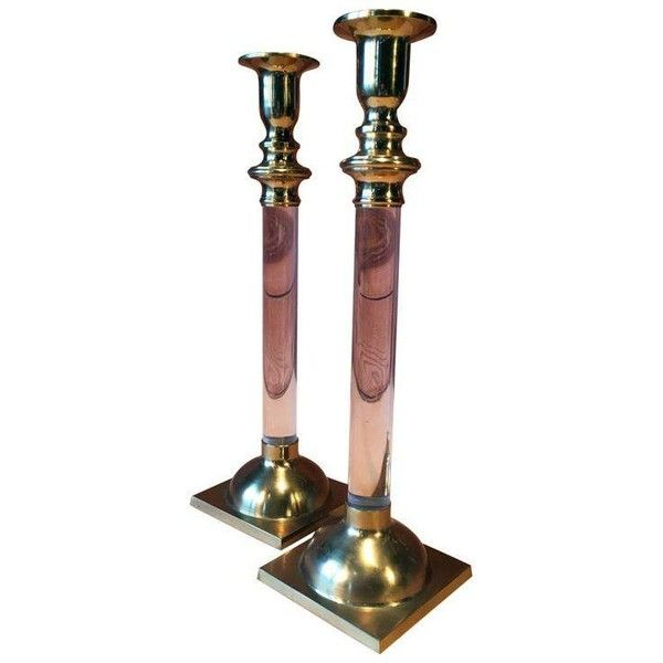 Vintage Brass & Lucite Candle Holders - A Pair (610 DKK) ❤ liked on Polyvore featuring home, home decor, candles & candleholders, candle holders, solid brass candle holders, brass home decor, brass candleholders, lucite candlesticks and brass candle holders