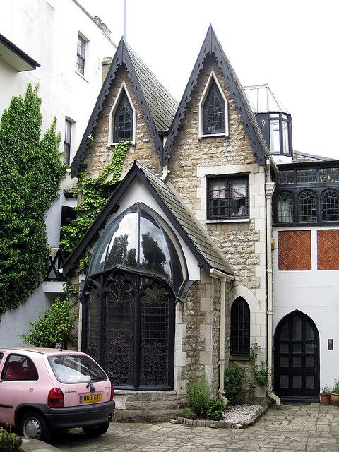 Gothic House, Langford Place, St. Johns Wood, London, England, GB  I always loved this house. My family called it 'The Witches House'. It has broken glass chips along the top of the front garden wall. One of the Saatchi Brothers owned it, and now Vanessa Feltz lives there. I want it!!!