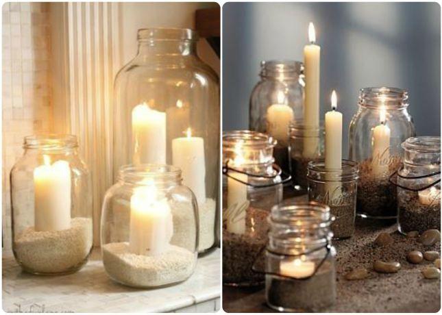 Ideas candelabros con botes de cristal