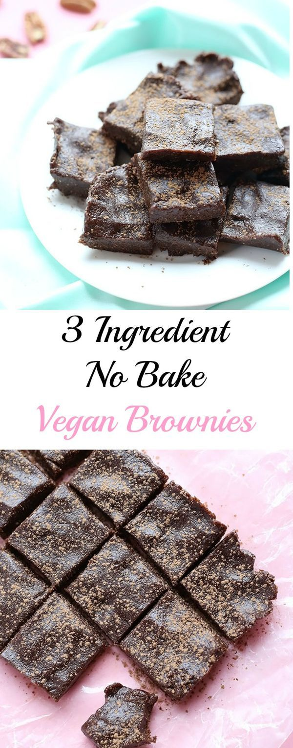 These 3 Ingredient No Bake Vegan Brownies are quick and easy to make! vegan, gluten free and refined sugar free! great snack or dessert!