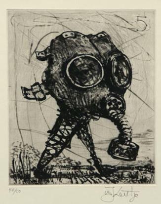 William Kentridge, GAS MASK, etching and sugarlift