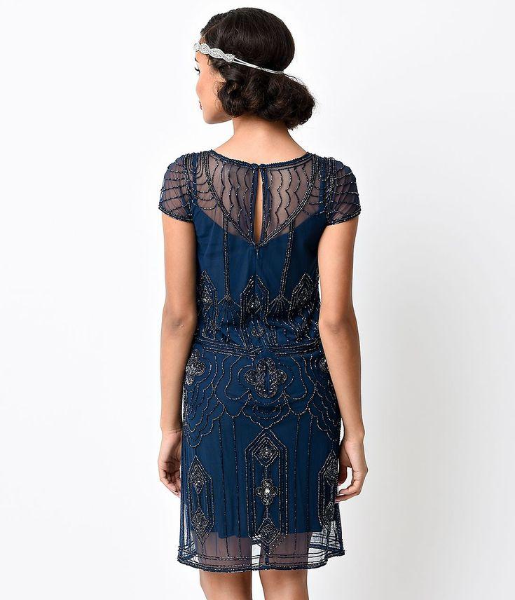 1920s Style Navy Blue Hand Beaded Martha Deco Flapper Dress