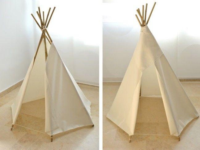 diy, réaliser, tipi, enfants, branches, bambou, corde, tissu, joli, décoration