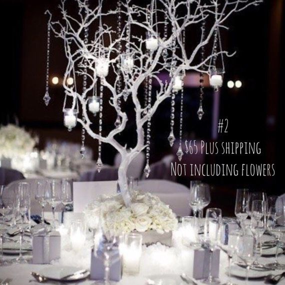 30 manzanita tree 8 feet acrylic crystal garland 4 candle votives with tea light candles 6x6x4 wooden base Floral foam base filler for fresh