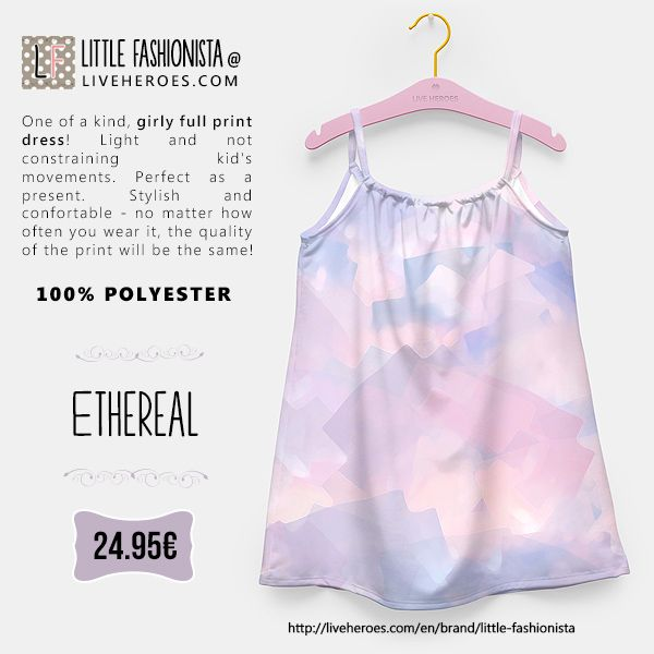 #ethereal #soft #sky #clouds #cute #girly #abstract #painted #watercolor #stylish #girldress #dress #liveheroes #liveheroesshop #littlefashionista