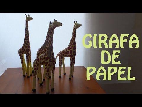 Como fazer Girafa de Papel artesanato com jornal - papietagem Feito a mao - YouTube
