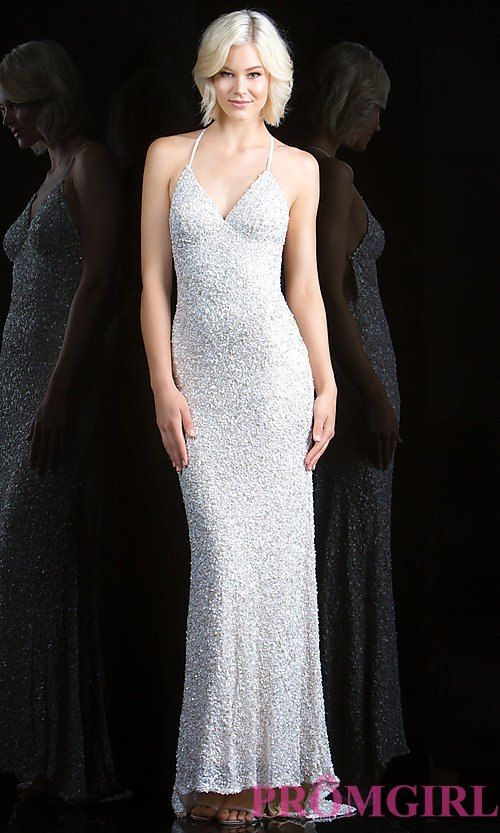 d55d84a21d5 Long V-Neck Sequin Dress with Open Back by Scala | Prom | Dresses, Prom  dresses, Formal dresses