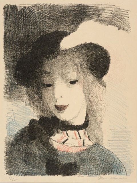From Dallas Museum of Art, Marie Laurencin, Elvire (1930), Color lithograph, 14 7/8 × 11 1/4 in