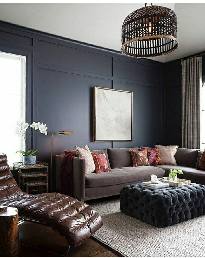 Best Dark Blue Accent Wall Masculine Living Rooms Trendy 400 x 300