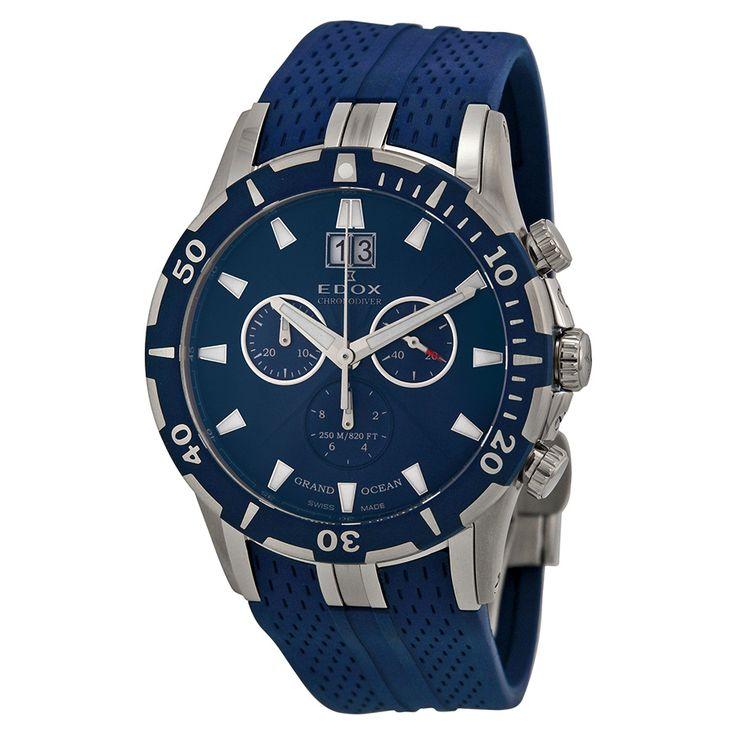 Edox Grand Ocean Chronograph Blue Dial Blue Rubber Men's Watch 10022-357B-BUIN