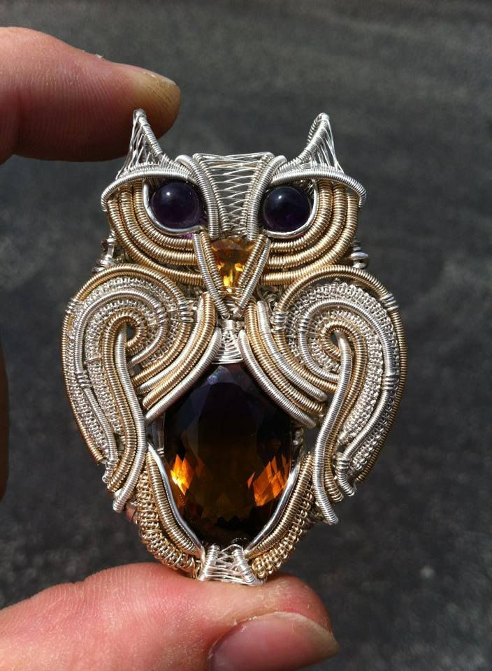 """Hand wire wrapped owl made by """"Dub Design Handmade Jewelry"""" Found at https://www.facebook.com/DesignsByTheDub   Starting prices of $300.00"""