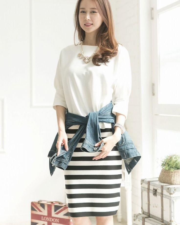 ボーダーのペンシルスカートコーデで夏っぽく♡甘タイプのガーリッシュ系のコーデ♡スタイル・ファッションのアイデア☆