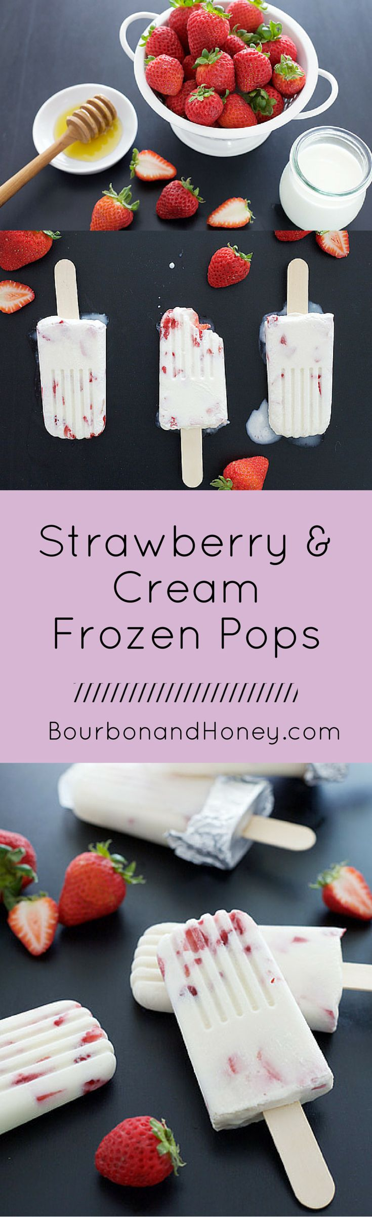 Strawberry and Cream Frozen Pops   BourbonandHoney.com -- A simply delicious recipe for Strawberry and Cream frozen pops.     - Click through to read the full post or Repin to find later!