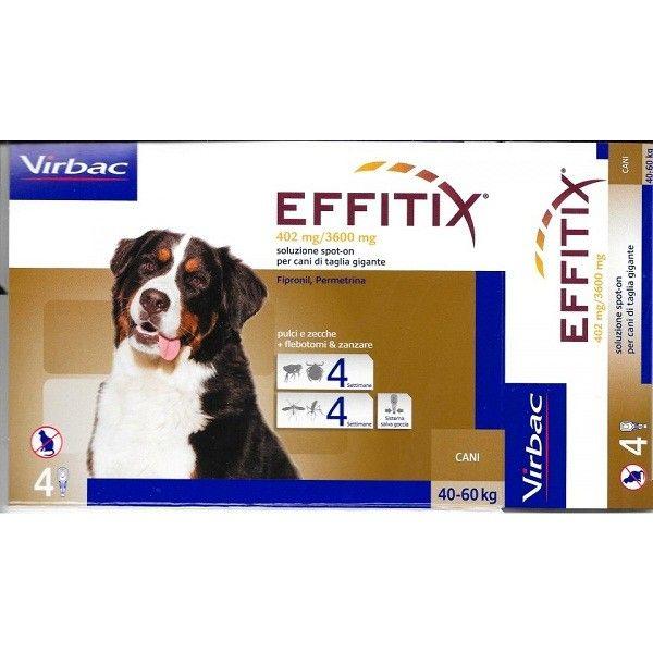 EFFITIX CANE XL 40 - 60 KG   Virbac effitix 4 pipette cani 40-60 kg, per il trattamento e la prevenzione delle infestazioni da pulci zanzare e flebotomi.  30,90 €  https://www.pets-house.it/pipette/4539-effitix-cane-xl-40-60-kg.html