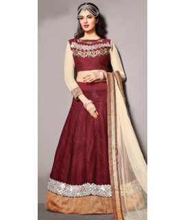Beautiful Brown Silk Lehenga Choli With Dupatta.