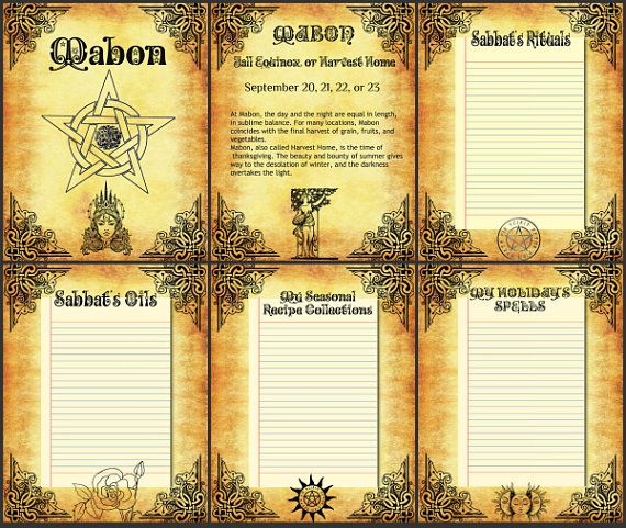 BOS 6 Pages Mabon- Wiccan Weel of the Year- Printable Color Pages