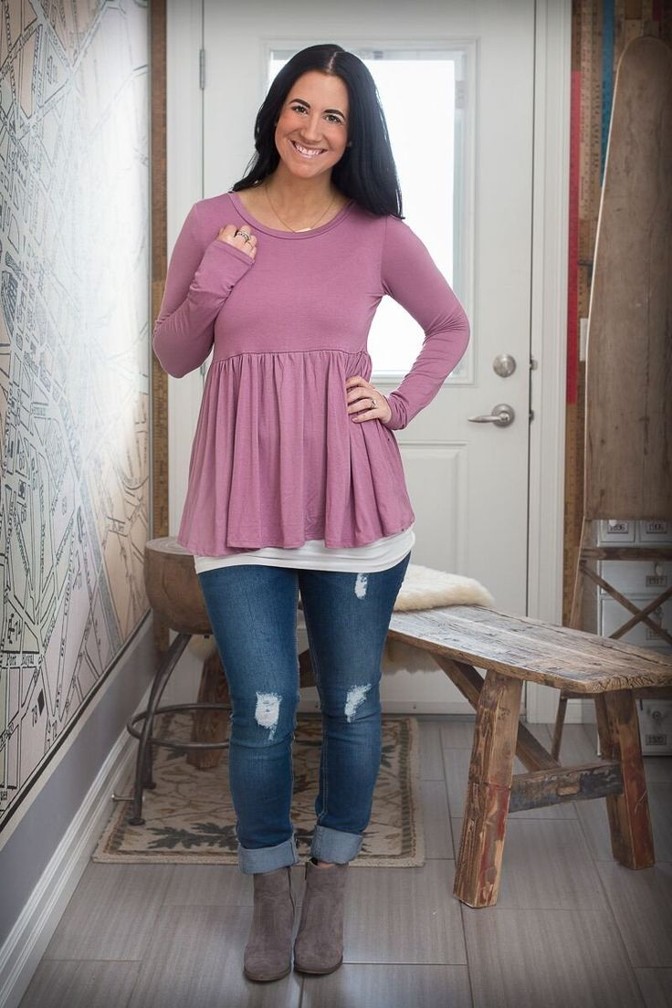 Peplum Tunic with Open Back Tie Detail - Mauve