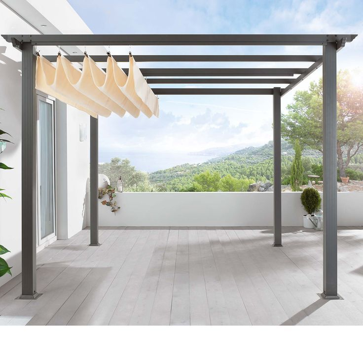 Retractable Awning. Great idea for in front. Shade when your sitting out, but won't stop the sun from lighting the inside of the house