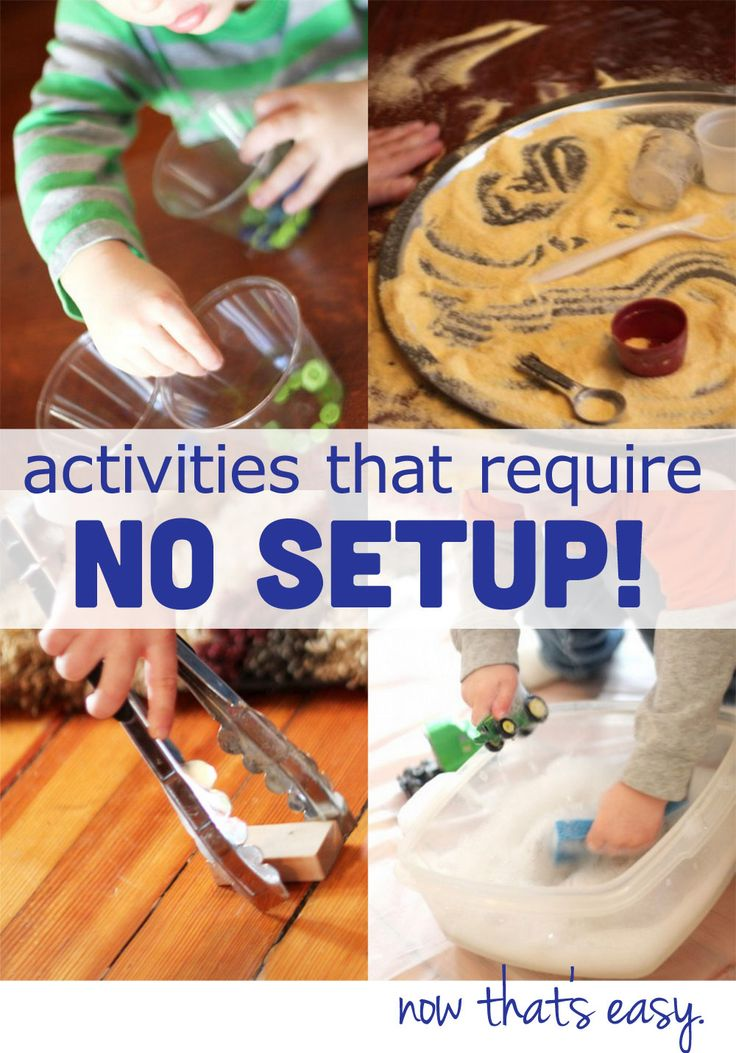 Toddler Activities That Require No Setup - when you're tired, busy but still want to be hands-on