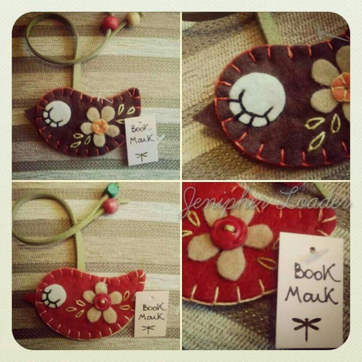 Bookmark bird fieltro felt feltro felting craft diy